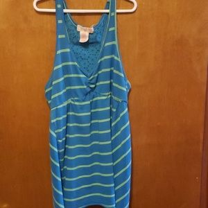 blue and green tank top